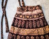Vintage Indian Cotton Wrap Skirt, Block Print, Extra Long, Boho, India Fabric, Ethnic Print, Earthy Hues