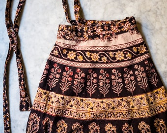 Vintage Indian Cotton Wrap Skirt, Block Print, Extra Long, Boho, India Fabric, Ethnic Print, Earthy Hues