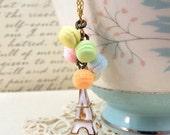 NEW YEAR SALE Paris Eiffel Pastel Macaron Necklace - Split Personality Designs