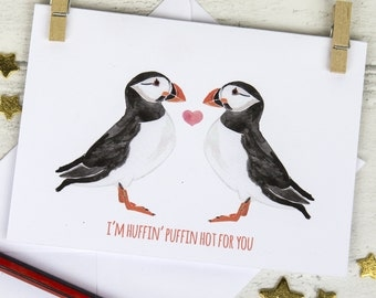 Funny Valentine's Card, Puffin Greeting Card, Romantic Valentine Card