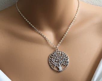 SALE Tree Of Life Necklace In Silver,Tree Necklace,Charm Necklace,Nature Inspired Jewelry,Antique Silver Necklace