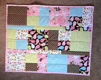 Pastel animal and owl crib quilt, patchwork baby bedding,  playmat, nursery bedding, baby girl pink