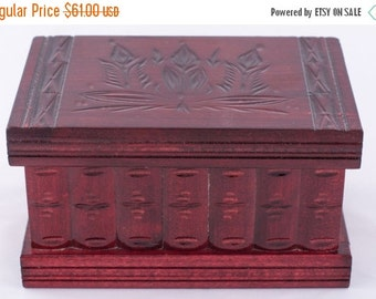 Cherry Red Wooden Large Puzzle Jewelry Box w/ Hidden Compartment  Romania Hungary
