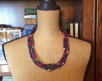 Vintage Jeweltone Bead Necklace, Triple Strand Green, Blue, Pink, Purple, Gold