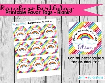 Rainbow Birthday - Printable Favor Tags - Instant Download!
