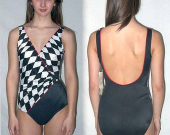 Hot spot ... Vintage 70s 80s Sirena swimsuit / bathing wrap maillot / black harlequin / one 1 piece pc / deadstock unworn  .. S