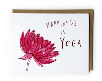 Yoga Greeting Card, Lotus Flower, Blank Notecard, 4.25x5.5, Folded Card, Illustration, Pen & Ink, Line Drawing, Watercolor, Red, Pink