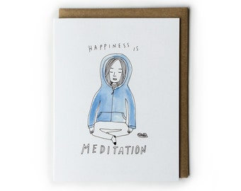 Meditation Notecard, Happiness, Blank Notecard, 4.25x5.5, Folded Card, Mindfulness, Illustration, Pen & Ink, Line Drawing, Watercolor