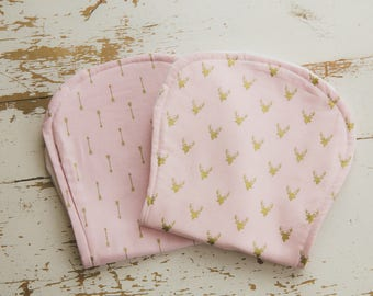 Baby Burp Cloth 2 Pack, Light Pink, Gold, Arrow, Deer,