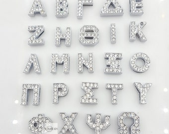 Free shipping-130pcs Grade A rhinestone Greek letters-fit throuth  8mm wristbands-T1259-5 whole sets