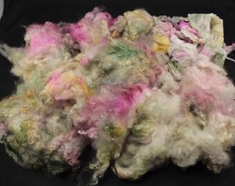 Wensleydale lock fleece with ponge silk, hand painted fiber fleece for spinning and felting, 4.2 oz