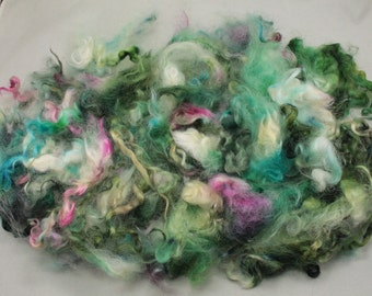 Lock mix  Teeswater and Masham, hand painted fiber fleece for spinning and felting, 4.5 oz