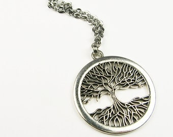 Tree Pendant Necklace (Bare Tree Branches and Tree Roots) on Stainless Steel Chain - Nature Lover Jewelry Gift
