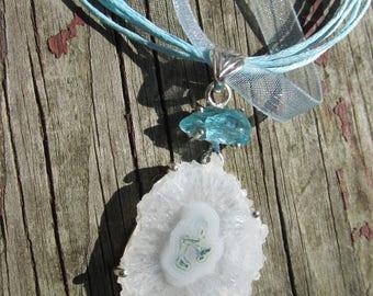 Adorable Solar Quartz and Aquamarine Necklace, Positive Energy, with Organza Cord