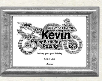Motorbike Lovers Personalised Word Art Print Fathers Day Birthday Christmas