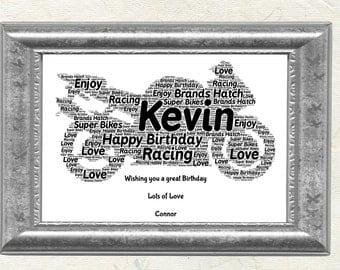 Motorbike, Personalised Word Art Print, Fathers Day, Birthday, Christmas, Gift for him, Motorbike Racing