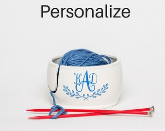 Ceramic Yarn Bowl | Personalize | Yarn Bowl | Gift for Sister | Monogram Gift