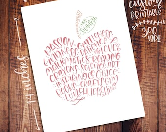 Chalky Custom Teacher Art - 11x14 - Printable Digital File - Wall Decor Gifts