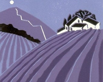 Lavander Path Limited Edition Linocut Hand Pulled - Purple and Black - Magical Tuscany,Original Print by Giuliana Lazzerini.