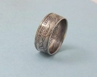 Silver coin ring Puerto Rico State quarter year 2009 size 7,  jewelry unique  gift FREE SHIPPING
