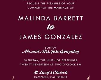 Custom Listing for Malinda Barrett, Burgundy and Rose Gold Wedding Invitation Set | Laurel Wreath Stationery | Discount Invite Suite