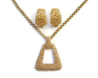 1974 Sarah Coventry Golden Sunset Necklace Earrings Set Signed
