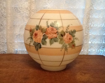 Victorian Milk Glass Globe Beautiful Hand Painted Pink Roses Parlor Banquet Lamp Shade 1800's Lighting