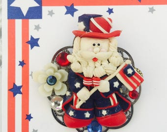 Patriotic USA Pin - Red White and Blue - FLAG Waving AMERICANA rooch