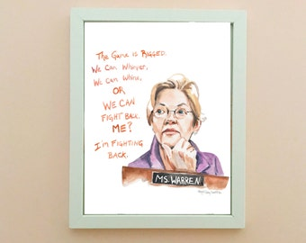 Senator Elizabeth Warren Portrait, inspiring women, inspiring quote, she persisted