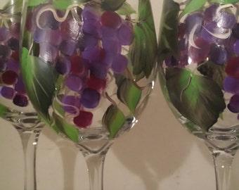 Hand painted wine glasses in grape design, wine,water,tea glasses, green grape wine glasses, purple grapes wine glasses