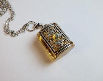 Vintage Inspired Silver Filigree Amber Crystal Perfume Bottle Necklace
