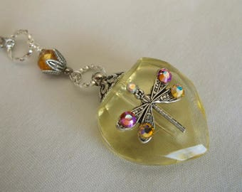 Heart Perfume Bottle Necklace, Crystal Heart Necklace, Yellow Dragonfly Crystal Heart Perfume Bottle Necklace
