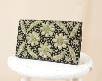 Black Velvet Clutch * Embroidered Clutch Purse * Made in India * Silver and Black Beaded Clutch Purse * Floral Clutch * Vintage Clutch