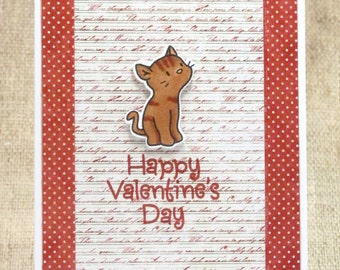 Cat Valentine Card- Cat Valentine- Happy Valentine's Day- Cat Card- Valentine Cards- Friend Valentine- Cards for Her