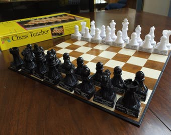 Chess Teacher by Pavilion, New old stock of 1992. A learning set for the beginner.indicates how & in which direction to move .USA. Gift Idea