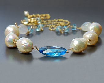 Baroque Pearl, Swiss Blue Topaz and Moonstone Necklace. Topaz Necklace. Gemstone and Pearl Necklace