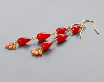 Coral Dangle by Agusha. Long Red Gemstone Earrings. Red Coral Earrings