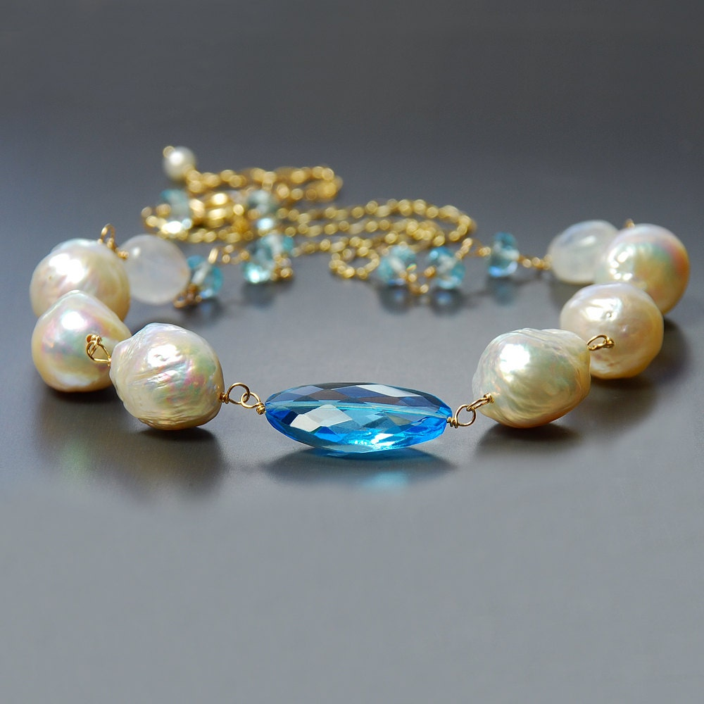 Blue Topaz And Pearl Necklace: Baroque Pearl Swiss Blue Topaz And Moonstone Necklace. Topaz