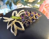 Vintage Cluster Grape Brooch  Pin Gold Tone, Green Purple, Baguette and Round Rhinestones