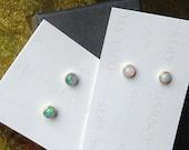 14K Gold Filled Opal Stud Earrings, Natural Ethiopian Opals, AAA+ 4mm Opals E142