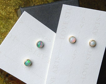 14K Gold Filled Opal Stud Earrings, Natural Ethiopian Opals, AAA+ 4mm Opals E142