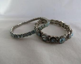 Two Adjustable Aquamarine Bracelets, Bracelet, Adjustable, Aquamarine, Two, Pair, Stretchy