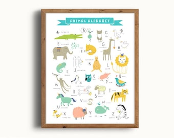 Alphabet Poster, Animal Alphabet, Alphabet Print, ABC Poster, ABC Print, Nursery Alphabet, Kids Room Decor, Digital Print, Instant Download