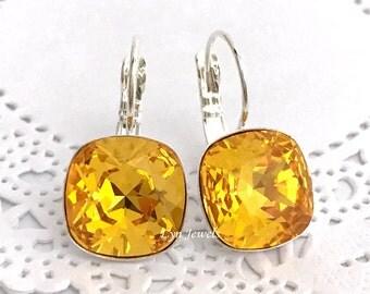 SUNFLOWER Earrings, Honey Yellow Swarovski Crystal Cushion Cut Drop Earrings 12mm, Citrine Yellow Topaz November Birthstone Earrings