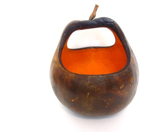 Vintage hand carved gourd bowl, dried gourd basket with handle
