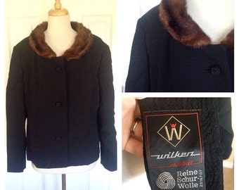 60s Plus Size Fur Collar Jacket