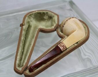 Vintage Meerschaum Pipe with gold trim and original case