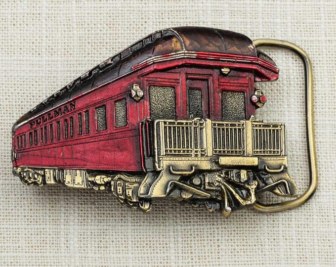 Red Caboose Silhouette Belt Buckle Pullman Train Gold Black Enamel Made in USA 1980 Vintage Belt Buckle 7G