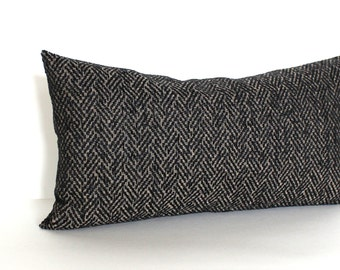 Lumbar Pillow Cover Black Pillow Herringbone Upholstery Fabric  Oblong Throw Pillow Cover Decorative Pillow 12x24 12x21 12x18 12x16 10x20