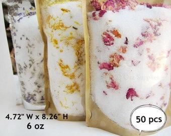 Kraft paper bags, Stand Up Ziplock Pouch, Kraft window bags, Gusset Bags ,Tea Storage, Zip lock Bags, Food Storage bag, 6 oz. 50 bags